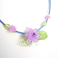 Delicate purple flower necklace - summer flower necklace - lucite flower necklace by Sparkle City