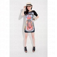 Elasticated Gorilla Red-mouth Printed Dress - Women's Dresses - Apparel