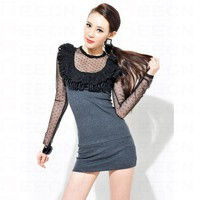 Dark Grey Lace Nets Vintage Long Sleeve Dress - Women's Dresses - Apparel