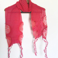 Mothers day, Dark Pink Fashion lace scarf, Trends scarf, Spring scarf, New collection