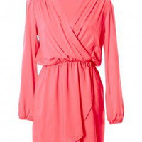 LOVE Coral Long Sleeve Wrap Dress - Love