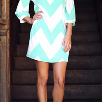 Wild Wide Chevron Dress: Mint | Hope's