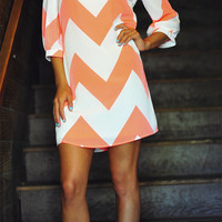 Wild Wide Chevron Dress: Neon Orange | Hope&#x27;s