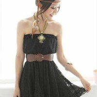 Women Black Strapless Sweet Korean Fashion Lace Dress With Belt H5970b