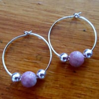 Silver Hoop Earrings - Pink Beaded Hoop Earrings - Pink Gemstome Bead Hoop Earrings, Small Hoops Earrings