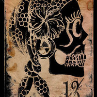Gypsy sugar skull thirteen 4x6 archival print by ShayneoftheDead