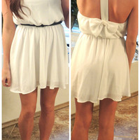 Bows Back Dress in White from Monica&#x27;s Closet Essentials