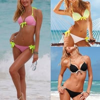 Hot 2 PCS Women Sexy Push Up Padded Swimsuit Swimwear Bathing Suit Bikini Set