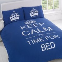 FULL NAVY BLUE TEENAGER KEEP CALM ITS TIME FOR BED COTTON REVERSIBLE COMFORTER COVER: Home &amp; Kitchen