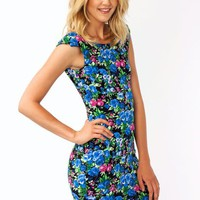 floral-bodycon-dress BLACKBLUE BLACKYLLW - GoJane.com