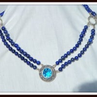 Double Strand Lapis Lazuli Blue Topaz Jewelry Pendant Necklace