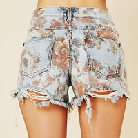 Free People Floral Printed Denim Cutoff