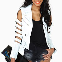 Bone Shredder Leather Jacket - White