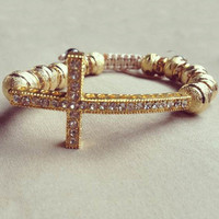 Cross Bracelet Golden Ball