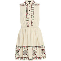 Cream embroidered sleeveless shirt dress