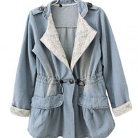 Drawstring Waist Denim Parka Jacket with Lace Insert