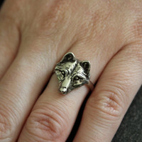 My Little Wolf Face Ring