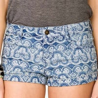 Bandana Print Denim Shorts | FOREVER 21 - 2040177794