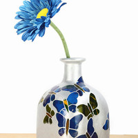 "Hand Painted Glass ""Patron"" bottle Cobalt Blue  green silver butterflies Minimal Home Decor - Decorative Glass Art"