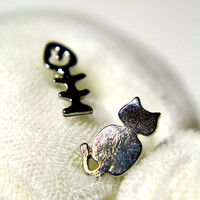 Cat and Fish Earring  one size by My Trinkettes