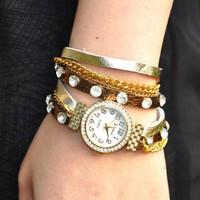 Handmade Diamond-encrusted Leather Wrap Watch
