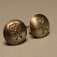 Sterling Silver Stud Earrings Handmade with Boy and Girl Metal Stamps