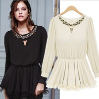 Ruffle Lap Embellished Round Collar Blouse Pink Black White
