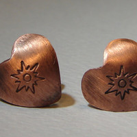 Heart shape copper sunburst stud earrings for Valentines day