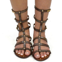 Santorini Gladiator Brown Strappy Sandals