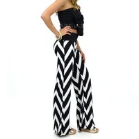 Laguna Beach Black &amp; White Chevron Striped Palazzo Pants