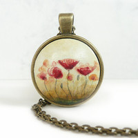 Sweet Poppy Art Necklace, Antique Bronze Color Chain, Red Flower Pendant, Mother's Day Gift, Gift for Mom