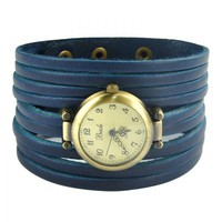 Blue Multi thin Leather Wraps Watch