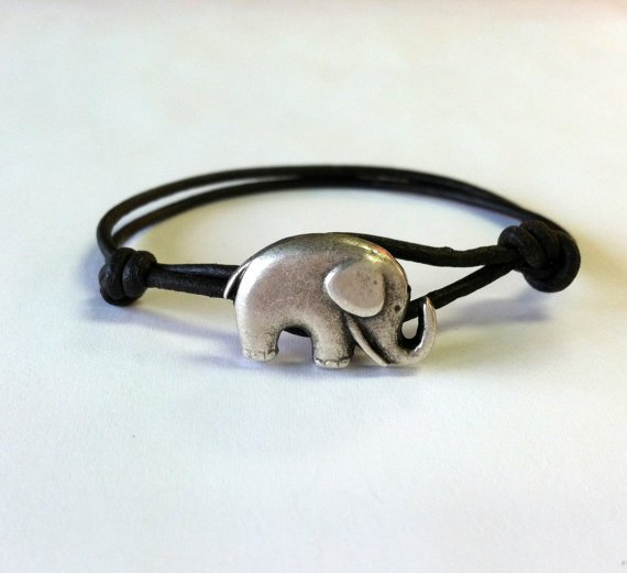 Elephant Leather Bracelet  SALE  Available by Jennasjewelrydesign