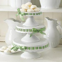 Ceramic White Cake Plates With Green Ribbon Set of 3