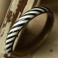 Striped Bangle Bracelet Black White by My3Chicks on Etsy