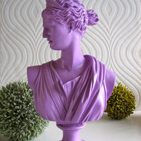 $49.00 Diana Bust Statue in purple by mahzerandvee on Etsy