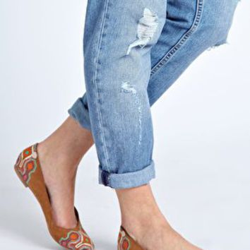 New Look Lexican Embroidered Tan Ballet Flats at asos.com