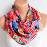 Infinity Scarf Loop Scarf Circle Scarf Cowl Scarf Red and Blue Roses and Polka Dots