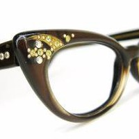 Vintage 50s Satin Brown Cat Eye Eyeglasses by Vintage50sEyewear