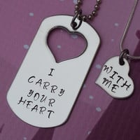 I carry your heart - with me hand stamped stainless steel his and her necklace set