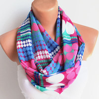Infinity Scarf Loop Scarf Circle Scarf Cowl Scarf Pink Purple White Polka Dots