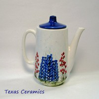 Tall Modern Style Teapot with Handpainted Texas Bluebonnet Wildflowers