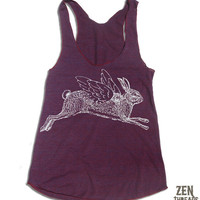 Womens Winged RABBIT american apparel Tri-Blend Racerback Tank Top S M L (9 Color Options)