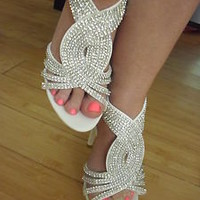 NEW SEXY STRAP RHINESTONES HIGH HEEL SANDALS