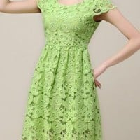 Sunflower Lace Short-sleeve Dress