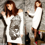 Casual Fashionable Womens T-shirt Beige Tiger Print Hip-length