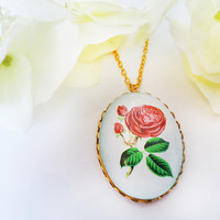 Rose Pendant - Flower Modern Vintage Fuchsia Romantic Gold Tone - French Cute - Pink Baby Blue Green Colorful Pastel Tone
