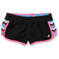 Glamour Kills Trinity Black &amp; Pink Chevron Board Shorts