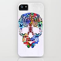 Cranium Butterflies iPhone Case by Caleb Troy