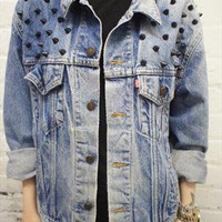 Vintage grunge 90's acid wash studded denim jacket from ChasingTheDime